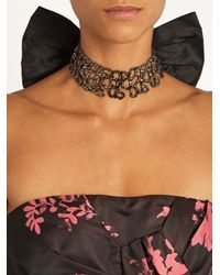 Oscar de la Renta - Black Lattice Silk-taffeta Bow Choker - Lyst