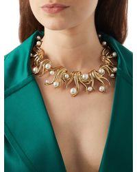 Oscar de la Renta - Metallic Gold-plated Fern Necklace - Lyst