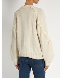 MUVEIL - White Circle-embroidery Wool-blend Sweater - Lyst