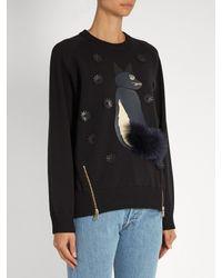 MUVEIL - Black Fox Appliqué Cotton-blend Sweater - Lyst