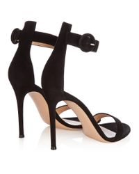 Gianvito Rossi - Black Portofino Suede Sandals - Lyst