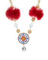 Dolce & Gabbana | Red Majolica Fur And Crystal-embellished Necklace | Lyst