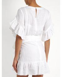 Étoile Isabel Marant - White Delicia Ruffled Linen Mini Dress - Lyst