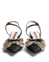 Rochas | Black Satin Rhinestone Leaf Sandals | Lyst