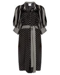 Stella McCartney | Black Polka-dot And Stripe Print Crepe Dress | Lyst