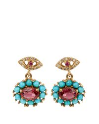 Ileana Makri | Metallic Diamond, Ruby, Sapphire & Turquoise Earrings | Lyst