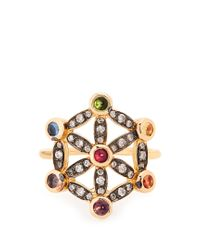 Noor Fares | Metallic Diamond, Multi-stone & Yellow-gold Pinky Ring | Lyst