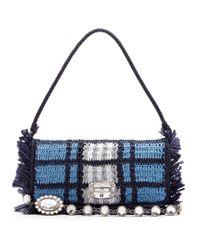 Miu Miu   Blue Woven-raffia Shoulder Bag   Lyst