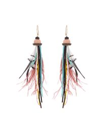 Etro | Multicolor Bead And Feather-embellished Drop Earrings | Lyst