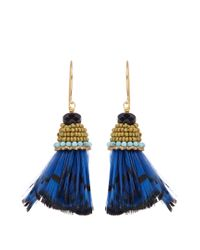 Etro | Blue Bead And Feather-embellished Drop Earrings | Lyst