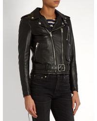 Saint Laurent - Black Blood Luster Cropped Leather Jacket - Lyst