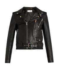 Saint Laurent - Black Blood Luster Cropped Leather Jacket - Lyst