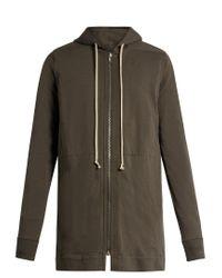 Rick Owens - Gray Hooded Zip-through Cotton Sweatshirt for Men - Lyst
