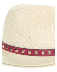 Valentino | Multicolor Rockstud Fedora Straw Hat | Lyst
