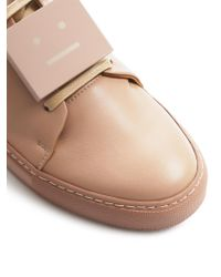 Acne Studios - Pink Adriana Turnup Leather Sneakers - Lyst
