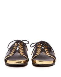 Balmain - Black Lace-up Leather Slides - Lyst