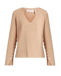 Helmut Lang | Natural Lace-sleeve V-neck Wool And Cashmere-blend Sweater | Lyst