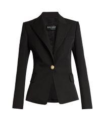 Balmain - Black Single-breasted Wool Blazer - Lyst