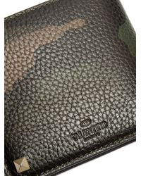 Valentino - Multicolor Rockstud Camouflage-print Bi-fold Leather Wallet for Men - Lyst