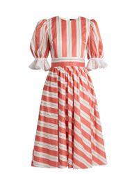 Anna October | Pink Puff-sleeve Striped Cotton Dress | Lyst
