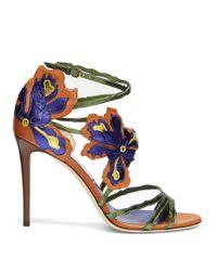 Jimmy Choo | Blue Lolita 100mm Flower-appliqué Leather Sandals | Lyst