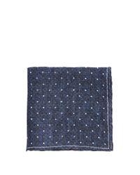 Brunello Cucinelli | Blue Polka-dot Print Linen Pocket Square for Men | Lyst