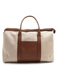 Brunello Cucinelli   Brown Canvas And Leather Tote for Men   Lyst