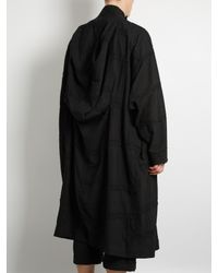 By Walid - Black Parachute Embroidered Cotton Coat for Men - Lyst