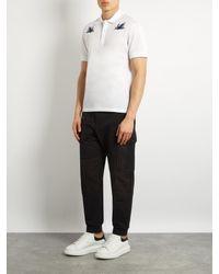 Alexander McQueen White Hummingbird-embroidered Polo Shirt for men