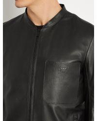 Fendi Black Patch-pocket Leather Jacket for men