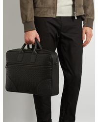 Bottega Veneta - Black Intrecciato Leather Briefcase for Men - Lyst