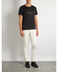 Balmain - Black Logo-print Cotton T-shirt for Men - Lyst