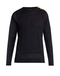 Balmain | Blue Button-shoulder Distressed Linen Sweater for Men | Lyst