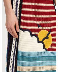 RED Valentino - Blue Sunset-motif Striped Crochet Skirt - Lyst