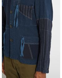 Loewe - Blue Contrasting-panel Drawstring Jacket for Men - Lyst