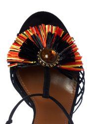 Aquazzura - Black Samba Raffia-embellished Suede Sandals - Lyst
