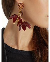 Marni - Red Crystal And Flower-drop Earrings - Lyst