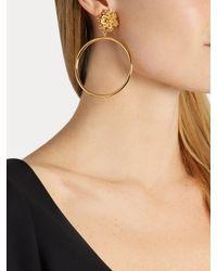 Dolce & Gabbana - Metallic Flower-embellished Clip-on Hoop Earrings - Lyst