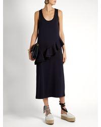 MSGM - Blue Asymmetric-ruffle Sleeveless Jersey Dress - Lyst