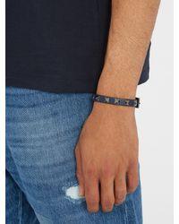 Valentino | Blue Rockstud-embellished Leather Bracelet for Men | Lyst