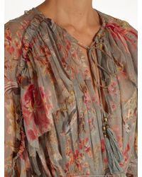 Zimmermann - Multicolor Mercer Floating Floral-print Silk-chiffon Dress - Lyst