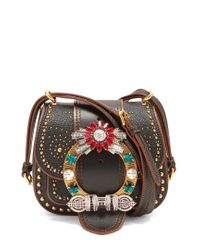 Miu Miu - Multicolor Dahlia Embellished Leather Cross-body Bag - Lyst