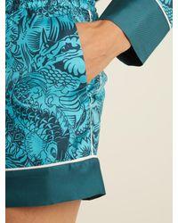 Mary Katrantzou - Blue Rook Dragon-print Silk-twill Shorts - Lyst