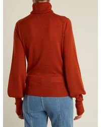 Chloé - Brown Roll-neck Wool Sweater - Lyst