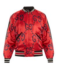 Gucci - Red Ghost-print Satin Duchesse Bomber Jacket for Men - Lyst