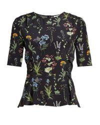 Altuzarra | Black Erinna Round-neck Floral-print Top | Lyst