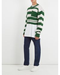 Raf Simons - Green Cropped Striped-wool Sweater for Men - Lyst