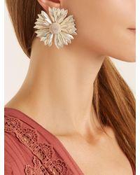 Rebecca de Ravenel - Metallic Flower Clip-on Earrings - Lyst