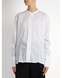 Lemaire White Long-sleeved Cotton-muslin Shirt