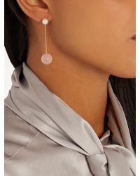 Delfina Delettrez - Pink Pearl, Rose-chalcedony & Yellow-gold Earring - Lyst